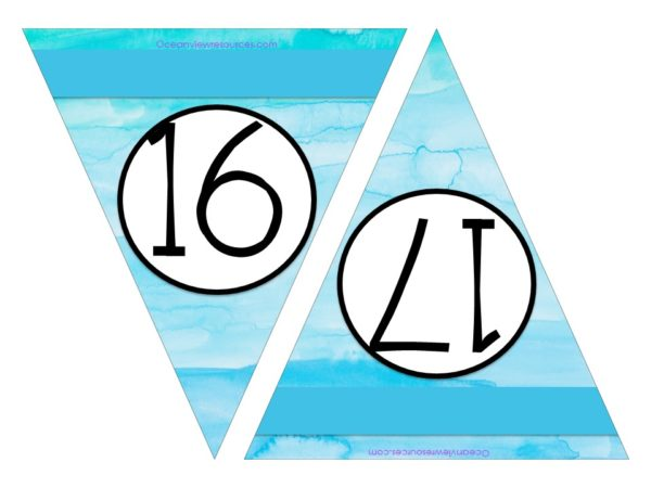 FREE Bunting - Numbers 16 & 17