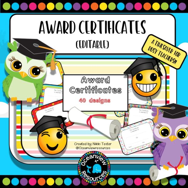 Award certificate cover