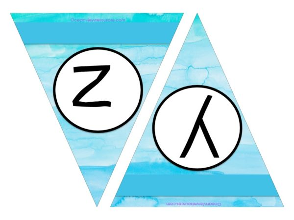 FREE Bunting - Letters y & z