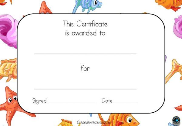 Award certificate ocean theme