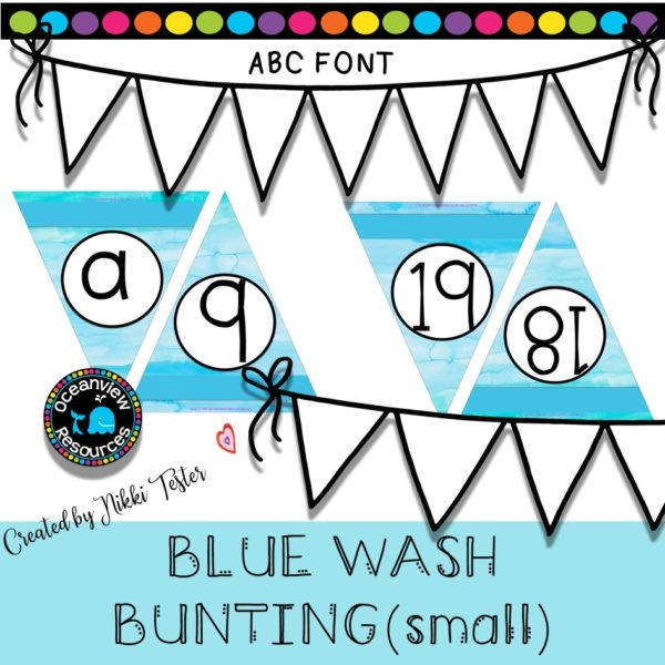 Alphabet and Number bunting. Blue Wash cover